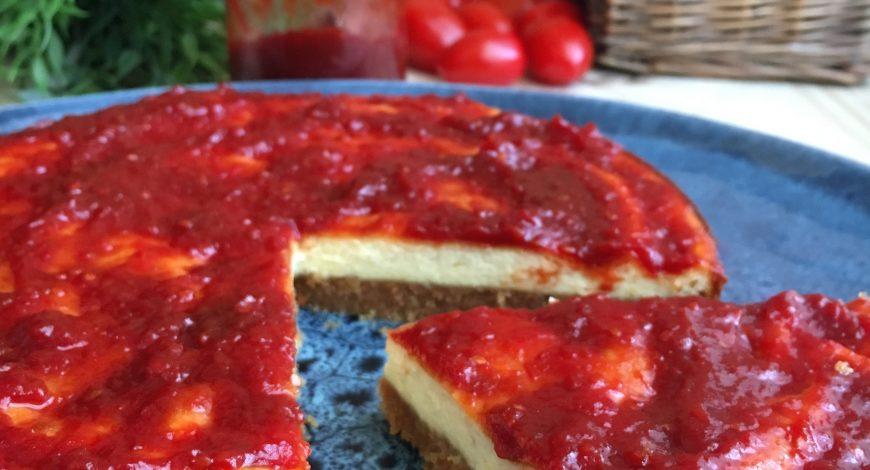 Cheesecake salat amb melmelada de tomàquet