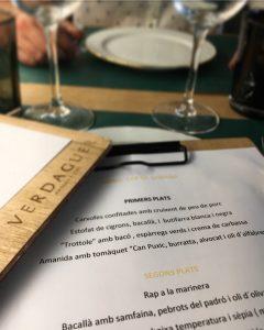 Carta Menú Cap de Setmana Restaurant Verdaguer Vilassar de Mar